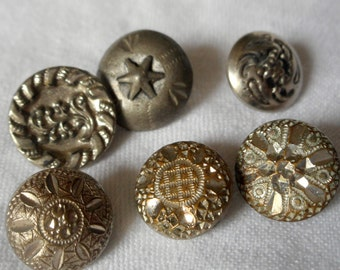 Lot of 6 ANTIQUE Silver Metal BUTTONS