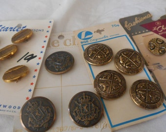 Lot Sets of VINTAGE Carded Gold Metal Craft Sewing Buttons L107