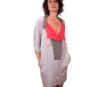 Color Me Pink, 90s BCBG Runway Colorblock Dress size S M, MOD Gray Pink Silk Tunic, Avant Garde Designer Max Azria, free US shipping!