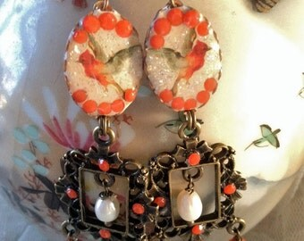 Lilygrace Red Cardinal Bird Earrings with Coral and Vintage Rhinestones
