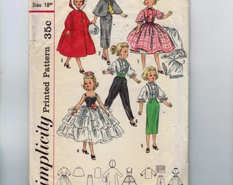 1960s Vintage Sewing Pattern Simplicity 2293 18 Inch Teen Fashion Doll 60s