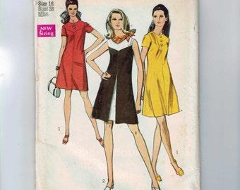 1960s Vintage Sewing Pattern Simplicity 8638 Misses A Line Mod Dress with Contrast Yoke Size 16 Bust 38 1969 60s UNCUT