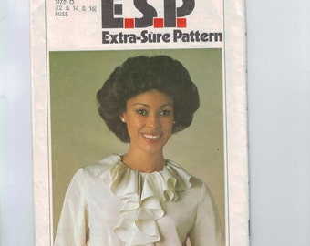 1970s Vintage Sewing Pattern Simplicity 8187 Misses Ruffle Neck Easy ESP Blouse Pattern Size 12 14 16 Bust 34 36 38 UNCUT 70s 1977