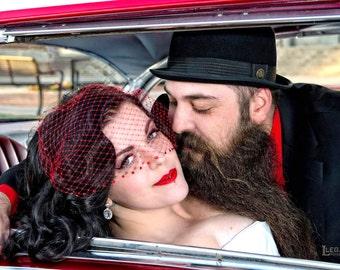 Red Birdcage Wedding Veil, Crystal Veil, Blusher Veil, Bandeau Veil, White Bridal Veil, Half Veil, Champagne Veil