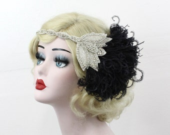 Bridal Head Piece, 1920's Flapper, Great Gatsby, Black Feather Headband, Crystal Head Dress,  Batcakes Couture