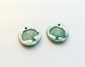 Dark Green and Silver Tree of Life Polymer Clay Beads