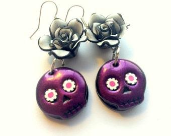 Purple Grey Black Rose Sugar Skull Handmade Polymer Clay Earrings
