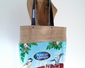 Tote Bag, Upcycled Bird Seed Bag, burlap-lined, eco-friendly Maine-made gift