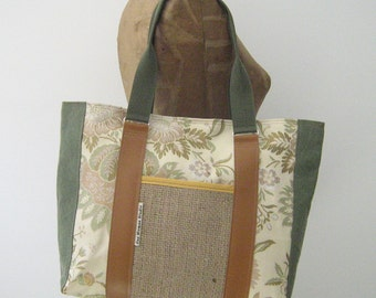 Tote Bag/Overnight Bag/Diaper Bag, upcycled, repurposed and Maine made
