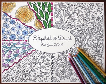 Adult Coloring Poster - Personalized // Adult Coloring // Adult Coloring Page // Wall Art // Coloring Book // Colored Pencils // Floral