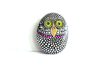Owl Hand Painted Stone with Magnet