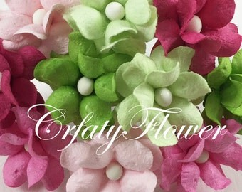 25 PINK Green Small Mulberry Paper Flowers for Baskets Scrapbooks Wedding Faux Cupcake Cards Dolls Crafts Roses 624/ZS15