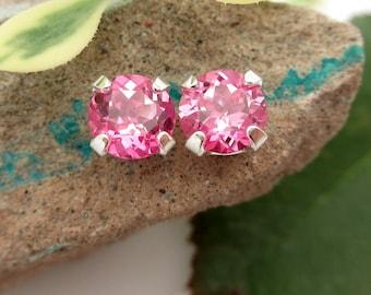 Pink Sapphire Stud Earrings, Lab Grown Earrings in Gold, Silver, or Platinum, 6mm