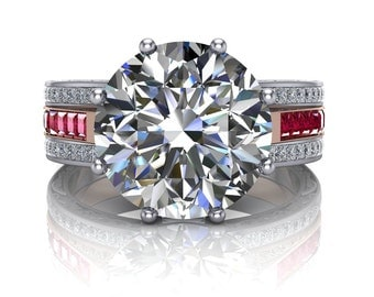 4 Carat Diamond and Ruby Engagement Ring, 3 Band with Scrolls