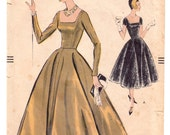 """ORIGINAL Vintage Sewing Pattern 1950's Ladies Evening Gown Vogue 9280 Size 32"""" Bust - Free Pattern Grading E-book Included"""