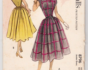 """Vintage Sewing Pattern Misses Dress McCall's 8796 1950's Bust 33"""" - FREE Pattern Grading E-book Included"""