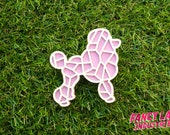 Pastel Poodle Brooch, Laser Cut Acrylic, Laser Cut Jewellery, Laser Cut Brooch