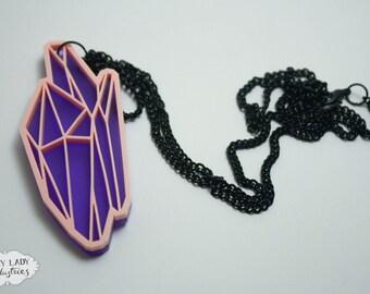 Crystal Pastel Necklace, Laser Cut Jewellery, Laser Cut Necklace, Laser Cut Crystal, Pastel Crystal