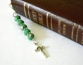 Crucifix Cross Bookmark with Green Glass Beads Shepherd Hook Steel Bookmark Silver Color