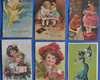 Lot of 6 Reproductions of Antique Postcards Christmas Columbia College