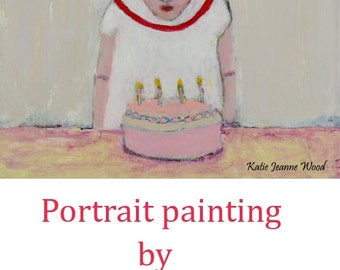 Acrylic Girl Portrait Painting. Happy Birthday Painting. Birthday Cake Art. Child Bedroom Wall Art Hanging. Birthday Gift