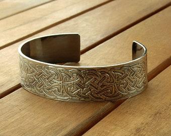 Celtic silver cuff | wide silver cuff | textured silver cuff | celtic silver jewelry | women's cuff | men's cuff | made to order