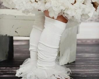 Ivory Lace ruffle tutu leg warmers - Antique Cream Lace Ruffle Tutu Leg Warmers - perfect birthday, photo prop, wedding Lace leggings