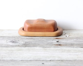 Modern Handmade Wood Carved Butter Dish