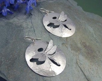 Large Sterling Silver Dragonfly Earrings - hammered dragonfly earrings - silver dragonfly earrings - sterling dragonfly earrings