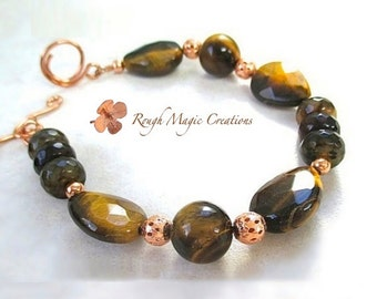 Chunky Tiger Eye Gemstone Bracelet. Honey Brown TigerEye Teardrops. Faceted Agate Stones. Fancy Filigree Copper Beads. Copper Toggle Clasp