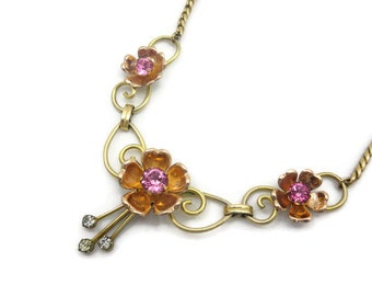 Gold Flower Necklace - Pink Rhinestone, 12kt Gold Fill