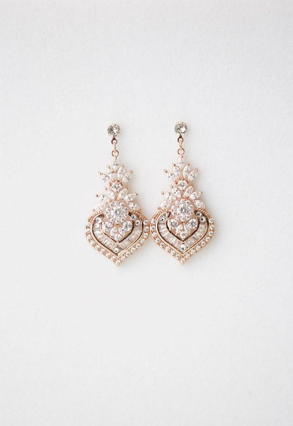 Wedding Earrings Chandelier Bridal Earrings Rose Gold Wedding
