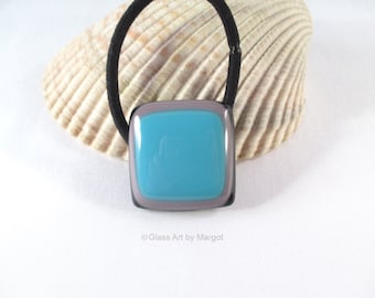 Fused Glass Ponytail Holder Turquoise Blue Purple Hair Accessory