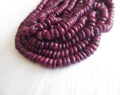 Rondelle coconut beads , Dark rasberry purple - pink coconut beads , small discs spacer bead, exotic ethnic  2 x 6mm  / 12 inc  strand 5A-20
