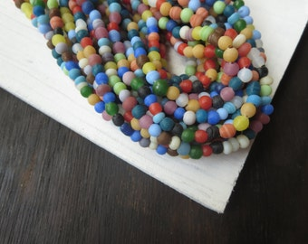 Small mix  round lampwork glass beads ,  opaque matte ,  irregular roundish shape spacer Indonesian 3 to 5mm / 20 in strand 6A1