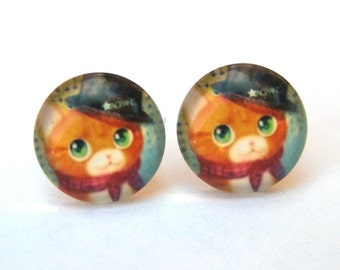 Cat Earrings Glass Cabochon Studs, Top Hat Kitty w/ Scarf, Whimsical Jewelry