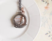 Shabby Rustic Romantic Frozen Charlotte Rhinestone and Roses Pocket Watch Collage Necklace