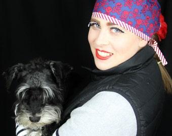 Scrub cap/ Theatre cap/ for Vet, Doctor, Nurse, Veterinary nurse - ROCKABILLY pirate themed, retro inspired, striped trim