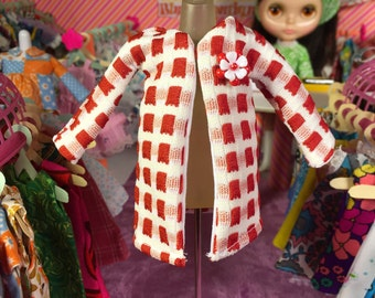 Red and White Mod Vintage Polyester Blythe Doll Winter Coat with Flower Brooch