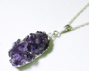 Amethyst Crystal Pendant Amethyst Pendant Druzy Silver Pendant Purple Amethyst February Birthstone AM-P-102-030s