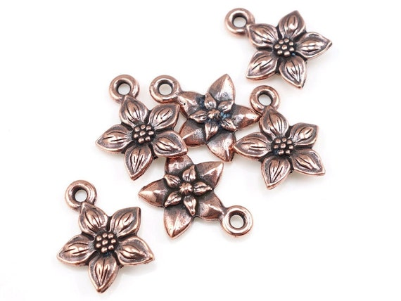 Copper Flower Charms - 14mm x 12mm Antique Copper Charms Copper TierraCast Star Jasmine Drop Spring Charms Summer Jewelry Charms (P762)