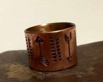 Copper Hand Stamped Ring - Textured  - Wide Band  - Size 7.50 - Made to Order