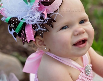 Mint Green Brown Pink Over the Top Hair Bow,Large Chocolate Brown Pink Mint Baby Headband, Over the Top Bow-Big Bow FREE HEADBAND INCLUDED