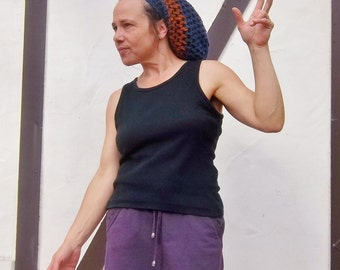 DREAD HAT Handmade Crochet Hat Wool Hat Rasta Hat Womens Hat Mens Hat Dreadlock Tam Dreads    * InDiGo RuST *