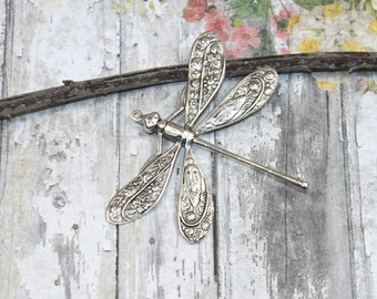 Brass Dragonfly Pendant with Ring Silver Ox {1pc} F138-SLV