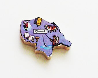 1960s Clwyd Wales Brooch - Pin / Unique Wearable History Gift Idea / Upcycled Vintage Wood Jewelry / Timeless Gift Under 25