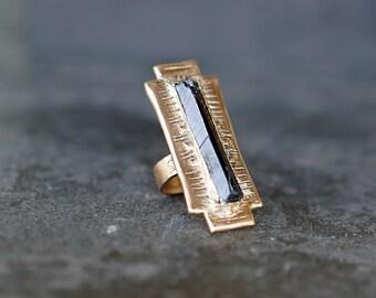 ATHENA/ Black & Gold Stone Warrior Ring, Geometric Statement Ring, Boho Gold Ring, Raw Crystal  Ring, Black Tourmaline Ring, Tribal Ring