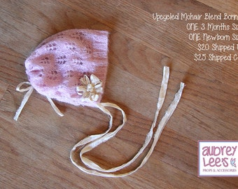 Upcycled Pink Mohair Blend Bonnet 3 Month Newborn Size RTS Photography Prop