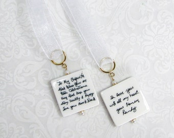 Bridal Bouquet Charms, 2 Memorial Photo Tiles on a Gold-Filled Ring - Med - BC2ax2