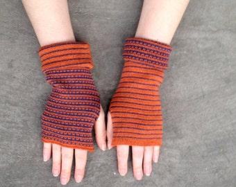 Arm Warmers Fingerless Gloves Orange and Blue Mittens Merino Wool Striped Gloves Mitaines en Laine Merinowolle Armstulpen